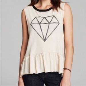 Chaser Diamond Tank with Ruffled Hem NWT